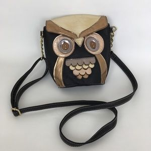 Owl Crossbody Bag Vegan Metallic Leather